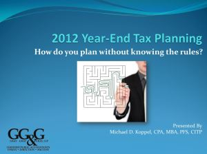 View the 2012 Year-End Tax Planning Webinar Recording Now!