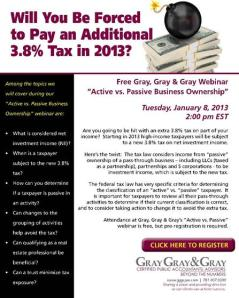 Register now for the January 8, 2013 Active vs. Passive Business Ownership Webinar!