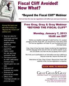 "Register Now for GG&G's January 7, 2013 ""Beyond the Fiscal Cliff"" Webinar!"
